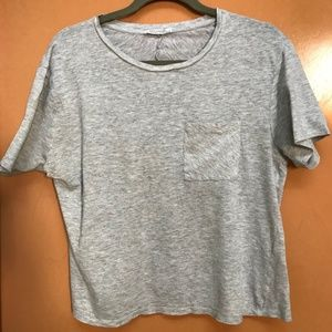 Zara Short Sleeve Cropped Marled Gray Pocket Tee M